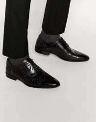 Asos Oxford Shoes In Black Leather With Snakeskin Effect Black