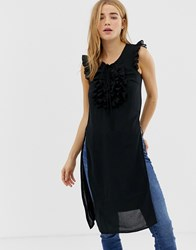Qed London Long Tunic Top With Frill Detail Black