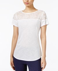 Maison Jules Lace Trim Top Only At Macy's Bright White