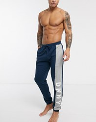 Dkny Large Side Logo Cuffed Joggers In Navy