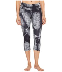 Lucy Studio Hatha Capri Leggings Black Palm Print Women's Workout