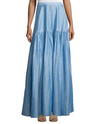 Co Gathered Maxi Skirt Light Blue