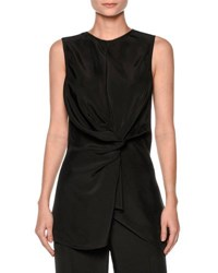 Marni Sleeveless Sateen Twist Front Top Black