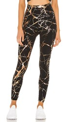Beyond Yoga Lost Your Marbles High Waisted Midi Legging In Black. Black Shiny And Rose Gold Marble