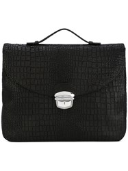 Orciani Silver Clasp Laptop Bag Black