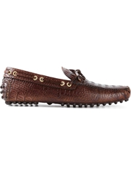 Car Shoe Textured Driving Loafers Brown