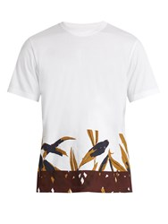 Marni Bamboo Print Cotton Jersey T Shirt White Multi