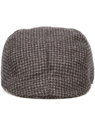 Canali Houndstooth Flat Cap Grey