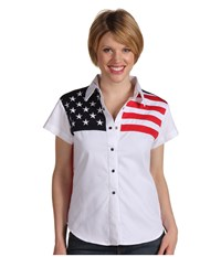 Scully Stars Stripes Shirt White Women's Short Sleeve Button Up