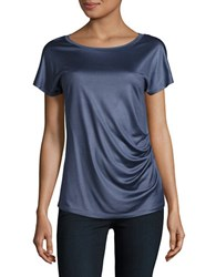 Max Mara Short Sleeved Ruched Silk Top Navy