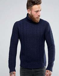 Edwin Roll Neck Cable Jumper Navy