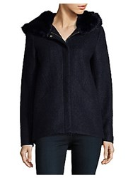 Laundry By Shelli Segal Faux Fur Hooded Coat Ivory