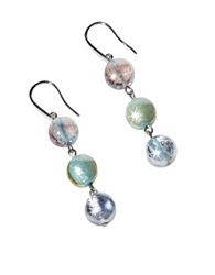 Antica Murrina Veneziana Redentore 1 Pastel Pink And Green Murano Glass And Silver Leaf Dangling Earrings