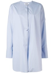 Jil Sander Collarless Shirt Women Cotton 40 Blue