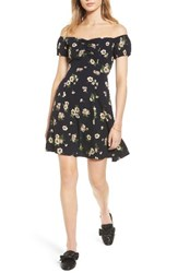 Soprano Women's Off The Shoulder Skater Dress Navy Floral