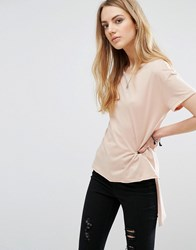 Only Hi Lo T Shirt Rugby Tan Pink