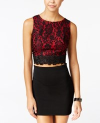 Amy Byer Bcx Juniors' Two Tone Lace Crop Top Red Black Combo