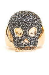 Milor Jewelry Pave Black Spinel Skull Ring