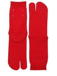 Maison Martin Margiela Tabi Wool Knit Socks Red