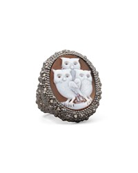 Diamond Trim Hand Carved Owl Cameo Ring Amedeo White