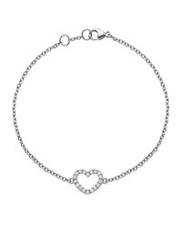 Eden 18K White Gold Diamond Heart Bracelet Kiki Mcdonough Red