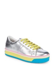 Marc Jacobs Empire Leather Platform Sneakers Silver Yellow