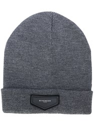 Givenchy Patch Detail Beanie Men Acrylic Wool One Size Grey