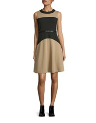 Calvin Klein Colorblocked Fit And Flare Dress Black Taupe