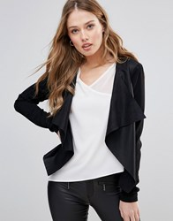 Only Sound Faux Leather Waterfall Lapel Jacket Black