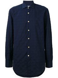 Kiton Plain Shirt Men Cotton 43 Blue