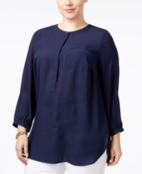 Jm Collection Plus Size Pleated Back Blouse Only At Macy's Intrepid Blue