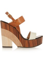 Jimmy Choo Notion Leather And Wood Wedge Sandals Tan