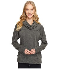 Lucy Keep Going Cowl Pullover Black Stripe Women's Long Sleeve Pullover Gray
