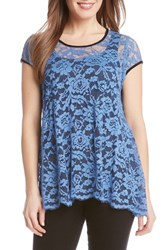 Women's Karen Kane Lace Cap Sleeve Flare Top