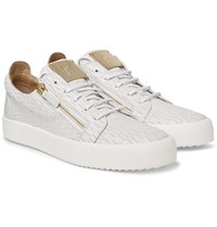 Giuseppe Zanotti Croc Effect Leather Sneakers White