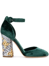 Dolce And Gabbana Vintage 2000'S Studded Chunky Heel Pumps Green