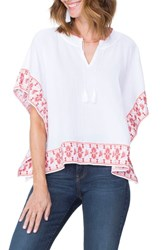 Nydj Cascade Embroidery Popover Top Optic White With Blaze Emb