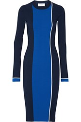 La Ligne Streamline Color Block Ribbed Knit Midi Dress Midnight Blue
