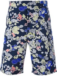 Jil Sander Printed Denim Shorts Blue
