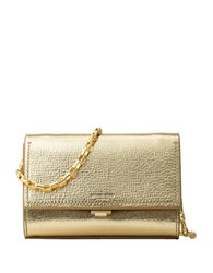 Michael Kors Yasmeen Small Metallic Leather Clutch Pale Gold