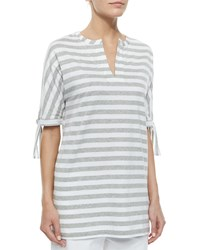 Joan Vass Striped Tie Sleeve Tunic Black White