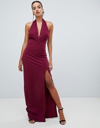 Ax Paris Ruched Halterneck Maxi Dress Purple