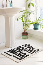 Urban Outfitters I Woke Up Like This Bath Mat Black And White