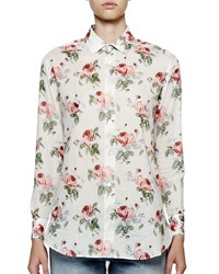 Saint Laurent Long Sleeve Floral Print Blouse White Men's Size 38