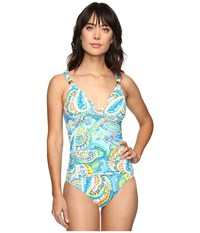 Lauren Ralph Lauren Carnival Paisley Shirred Mio One Piece Blue Women's Swimsuits One Piece