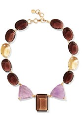 Bounkit Gold Tone Crystal And Stone Necklace Chocolate