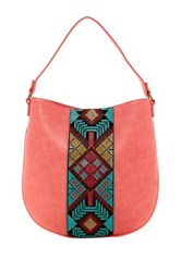T Shirt And Jeans Embroidered Hobo Bag Pink