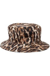 R 13 R13 Leopard Print Canvas Bucket Hat Brown