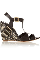 Rupert Sanderson Mitzy Woven And Leather Wedge Sandals