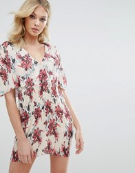 Missguided Floral Pleated Shift Dress Cream